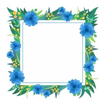 Kwadratowa ramka kwiatowy. niebieskie i żółte kwiaty z życzeniami.