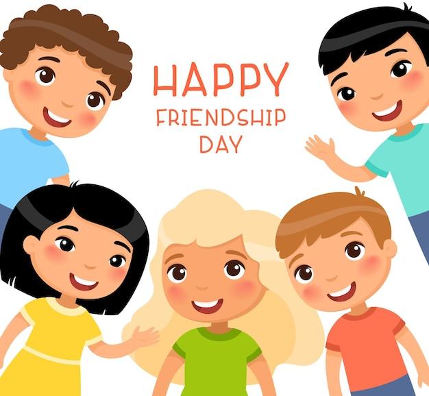 Kwadratowa ramka na dzień przyjaźni z pięcioma międzynarodowymi dziećmi