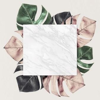 Kwadratowa ramka na metalicznym tle wzoru podzielonego liścia