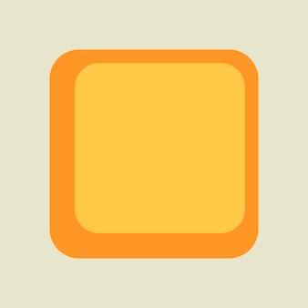 Kwadratowa ramka na naklejki, prosty żółty wzór retro na białym tle