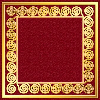 Kwadratowa ramka w kolorze złotym z wzorem greckiego meandra
