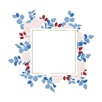 Kwadratowa ramka w kwiaty z białymi różami i eukaliptusem