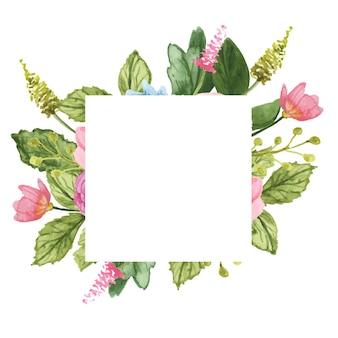 Kwadratowa ramka z akwareli róż