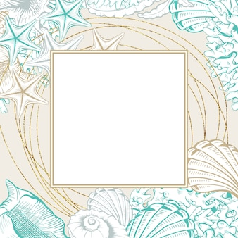 Kwadratowa ramka z muszelkami. plakat na białym tle wektor z konturowym rysunkiem muszli na kartki ślubne