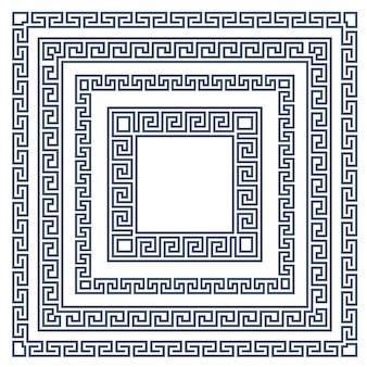 Kwadratowa ramka z ornamentem greckim, wzór w stylu meandra