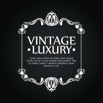Kwadratowa ramka z ornamentem luksusowy styl i szablon tekstowy