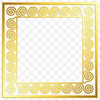 Kwadratowa ramka z tradycyjnym złotym ornamentem greckim, wzór meander