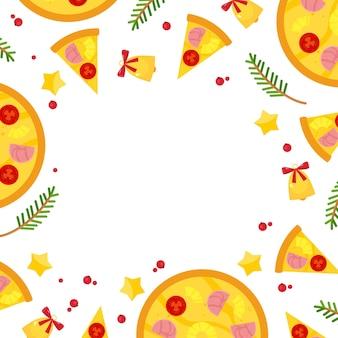 Kwadratowa ramka ze świąteczną pizzą, świerkowymi gałązkami i dzwoneczkami.