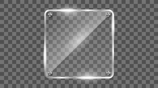 Kwadratowa szklana rama, odbijająca szklany baner.