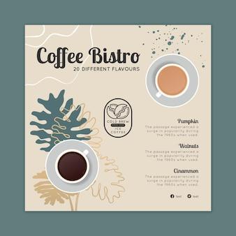Kwadratowa ulotka bistro z kawą