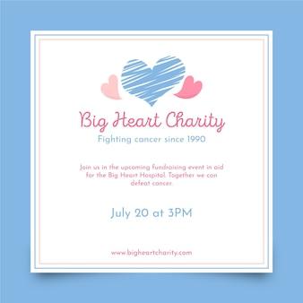 Kwadratowa ulotka charytatywna z wielkim sercem