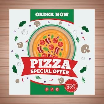 Kwadratowa ulotka dla restauracji z pizzą