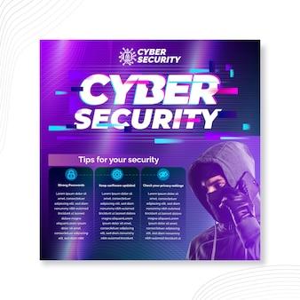 Kwadratowa ulotka dotycząca bezpieczeństwa cybernetycznego