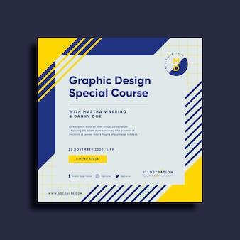Kwadratowa ulotka dotycząca kursu projektowania graficznego