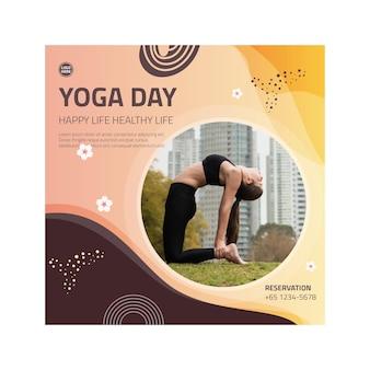Kwadratowa ulotka dotycząca równowagi ciała jogi