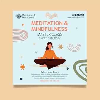 Kwadratowa ulotka medytacji i uważności