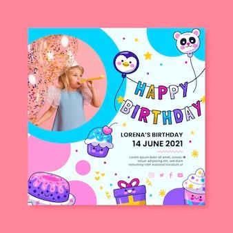 Kwadratowa ulotka urodzinowa dla dzieci
