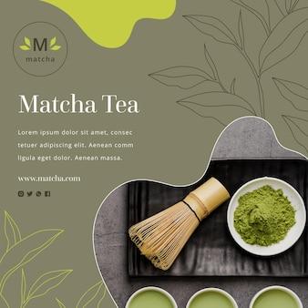 Kwadratowa ulotka z herbatą matcha