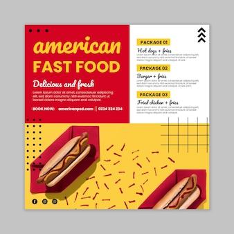 Kwadratowa ulotka z jedzeniem amerykańskim