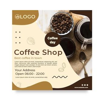 Kwadratowa ulotka z kawą