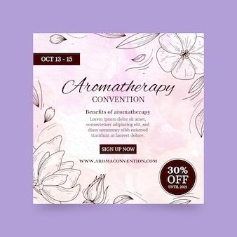 Kwadratowa ulotka z konwencją aromaterapii