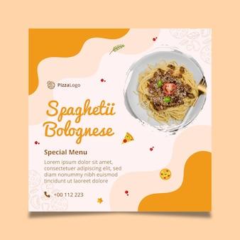 Kwadratowa ulotka z włoskim jedzeniem