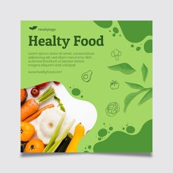 Kwadratowa ulotka ze zdrową żywnością i bio