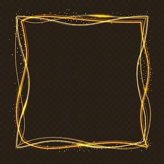 Kwadratowa złota rama tło z efektem świetlnym.
