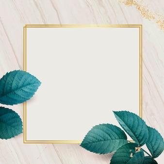 Kwadratowa złota rama z wektorem tła wzór liści