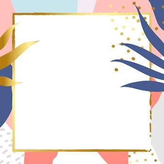 Kwadratowa złota ramka na kolorowym tle memphis
