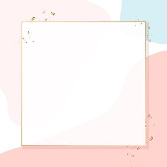 Kwadratowa złota ramka na kolorowym wzorze memphis