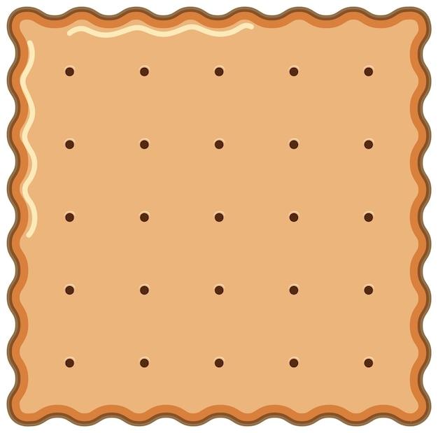 Kwadratowe ciastko w stylu kreskówki na białym tle
