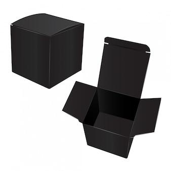 Kwadratowe czarne pudełko kartonowe z tworzywa sztucznego.