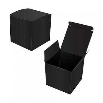 Kwadratowe czarne pudełko kartonowe.