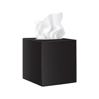 Kwadratowe czarne pudełko z papierowymi serwetkami.