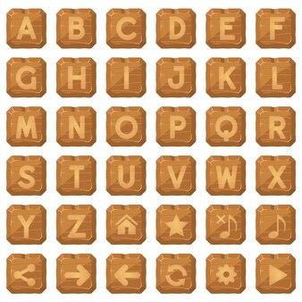 Kwadratowe guziki drewniane do gry słów alfabetu od z do.