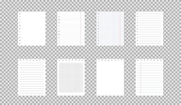 Kwadratowe iw linie arkusze notatnika lub notatnika.