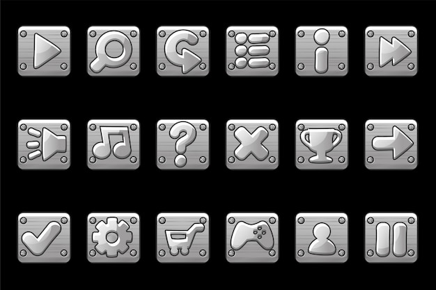 Kwadratowe, metalicznie szare przyciski do graficznego interfejsu użytkownika gry. zestaw ikon aplikacji znaków dla interfejsu użytkownika.
