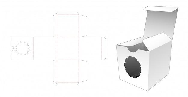 Kwadratowe opakowanie z wyciętym szablonem okienka kwiatowego