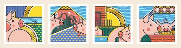 Kwadratowe plakaty z malowanymi elementami świni
