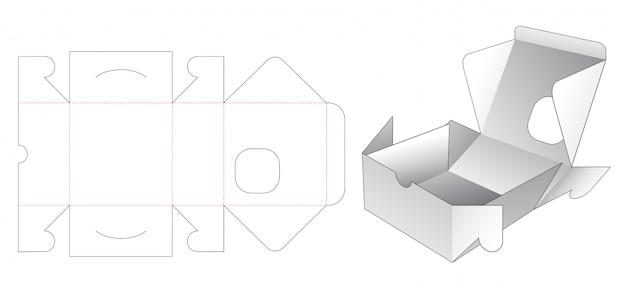 Kwadratowe pudełko piekarni z szablonem wycinanym w kwadratowe okno