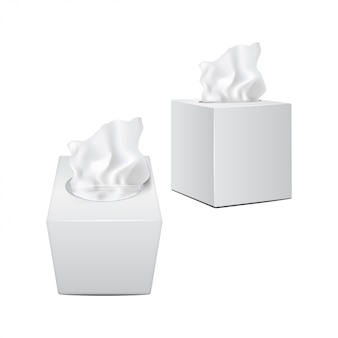 Kwadratowe pudełko z papierowymi serwetkami. białe realistyczne opakowanie