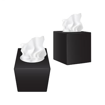 Kwadratowe pudełko z papierowymi serwetkami. czarne realistyczne opakowanie