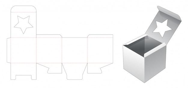 Kwadratowe pudełko z szablonem wycinanym w oknie gwiazdy
