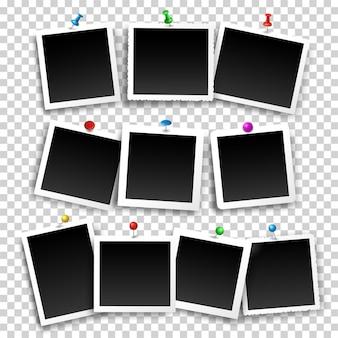 Kwadratowe ramki do zdjęć zamocowane za pomocą pinezek i pinezek w różnych kolorach zestaw szablonów wektorowych