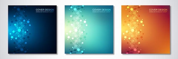 Kwadratowe szablony broszur z cząsteczkami