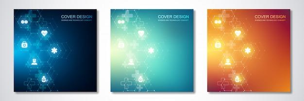 Kwadratowe szablony na okładkę lub broszurę, ze wzorem sześciokątów i ikonami medycznymi. opieka zdrowotna, nauka i technologia.