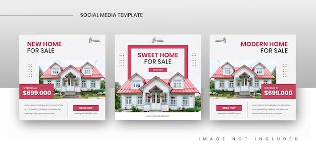 Kwadratowe szablony postów promocji sprzedaży nieruchomości w mediach społecznościowych
