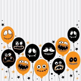 Kwadratowe tło dla szczęśliwego halloween. balony z przerażającymi twarzami, szczękami, zębami i otwartymi ustami. postać z kreskówki ghost, potwór. miejsce na tekst. wyciągnąć rękę