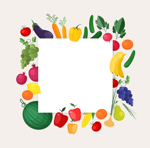 Kwadratowe tło lub szablon transparentu z ramą wykonaną ze świeżych, lokalnych, organicznych owoców i warzyw. kolorowa ilustracja do dożynek, lokalny targ, uczciwa reklama.